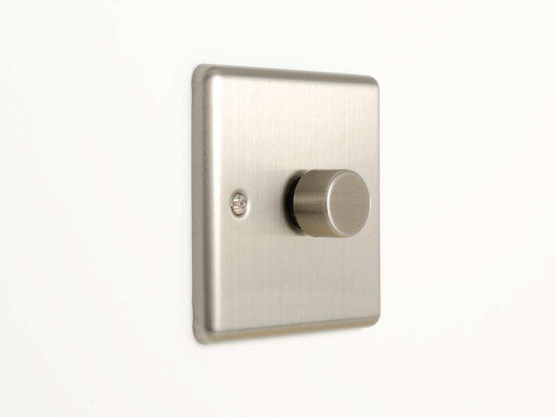 Brushed Chrome Single 1 Gang Dimmer Switch