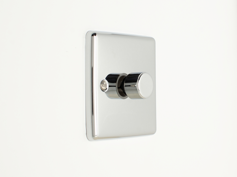 Polished Chrome Single 1 Gang Dimmer Switch