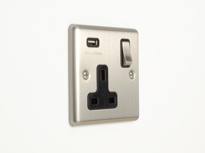 Brushed Chrome Single USB Socket