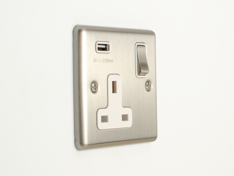 Brushed Chrome Single USB Socket