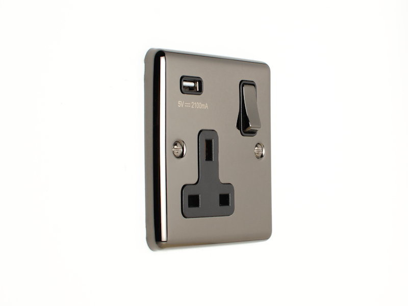Black Nickel Single USB Socket
