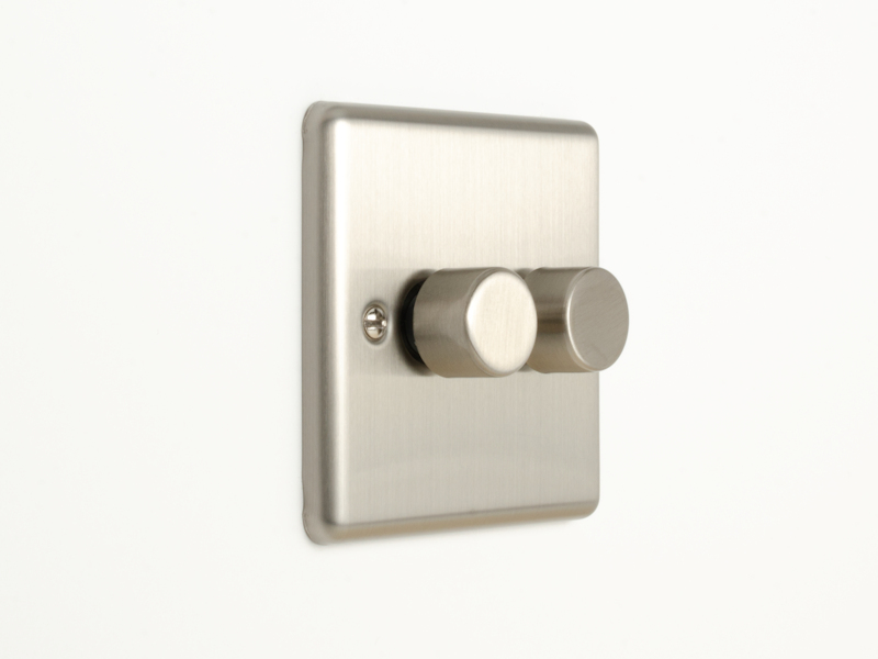 Brushed Chrome Double 2 Gang Dimmer Switch