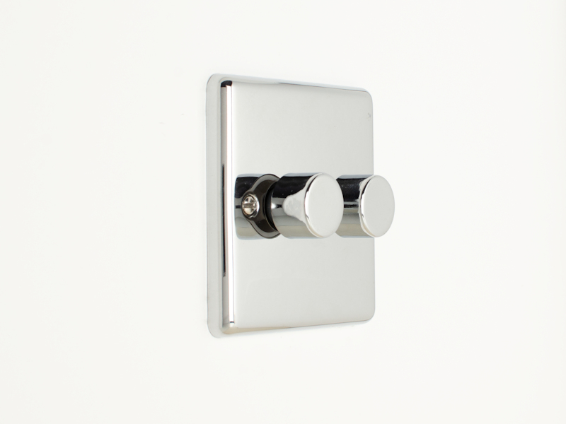 Polished Chrome Double 2 Gang Dimmer Switch