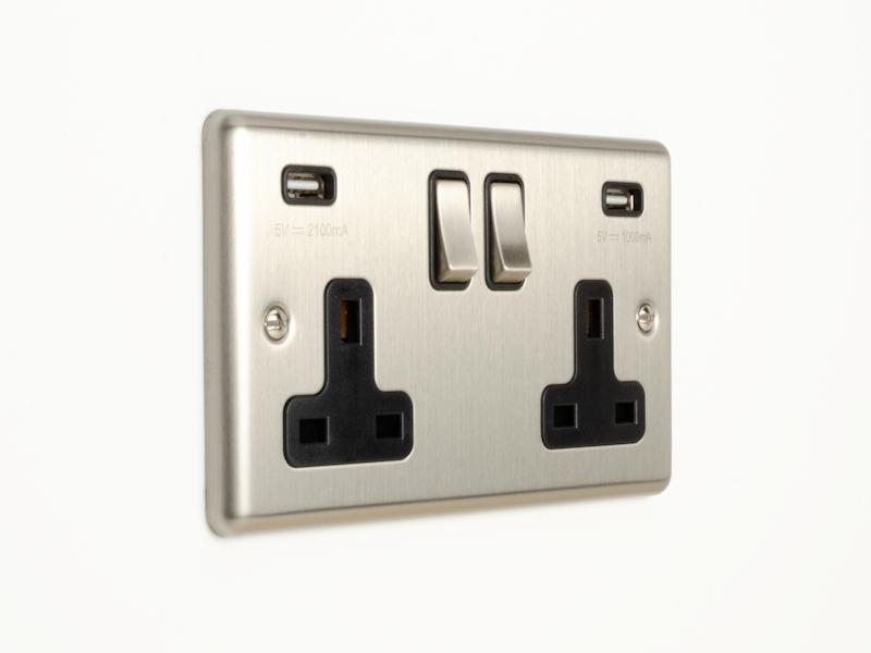 Brushed Chrome Double USB Socket