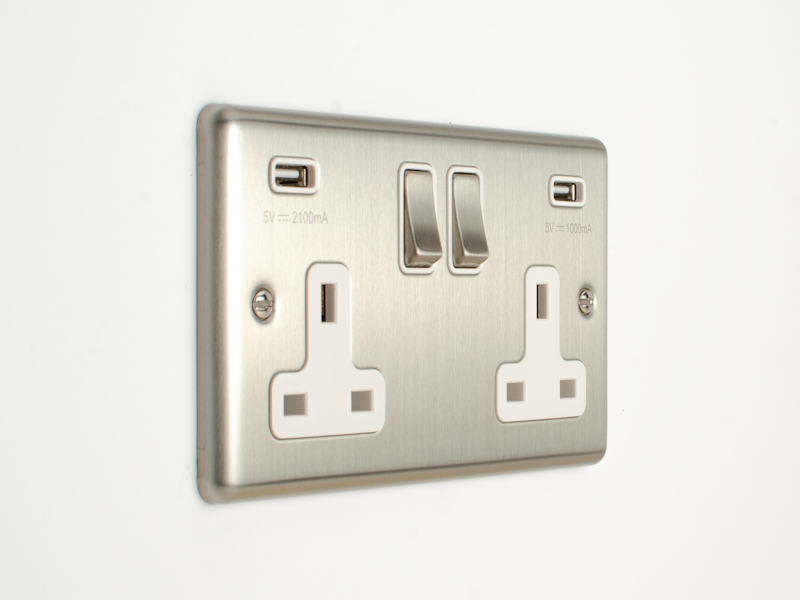 Brushed Chrome Double USB Socket