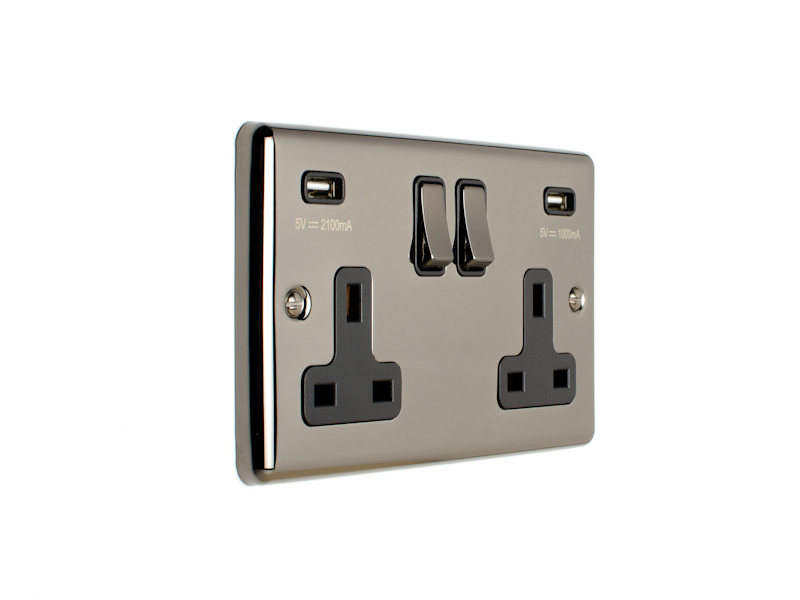 Black Nickel Double USB Socket