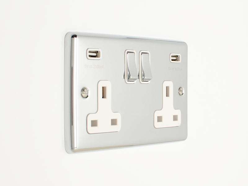 Polished Chrome Double USB Socket