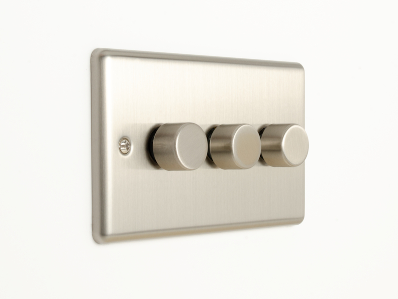Brushed Chrome Triple 3 Gang Dimmer Switch