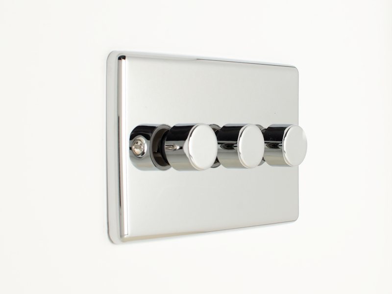 Polished Chrome Triple 3 Gang Dimmer Switch