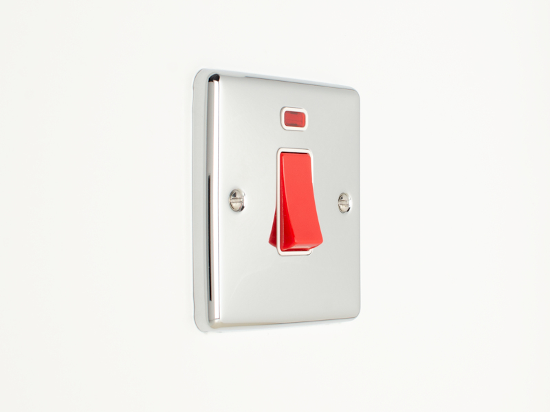 Polished Chrome 45Amp Double Pole Switch with Neon