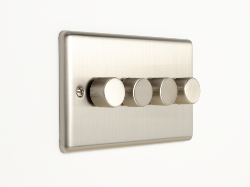 Brushed Chrome 4 Gang Dimmer Switch