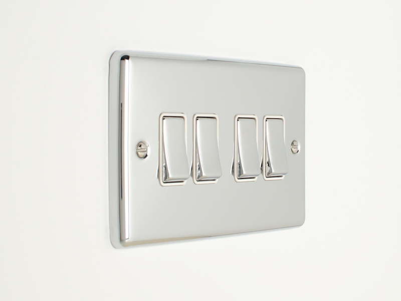 Polished Chrome 4 Gang 2 Way Switch