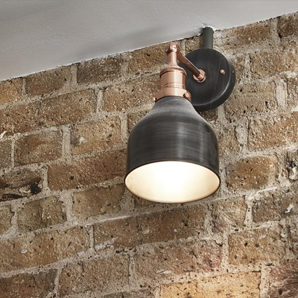 Industville Brooklyn Wall Lamp 7 inch Dark Pewter