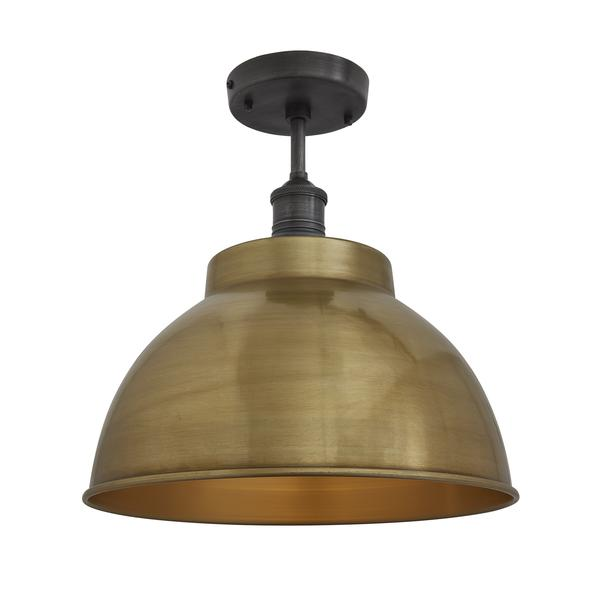 Industville Brooklyn Vintage Metal Dome Flush Mount Light - Brass - 13 inch