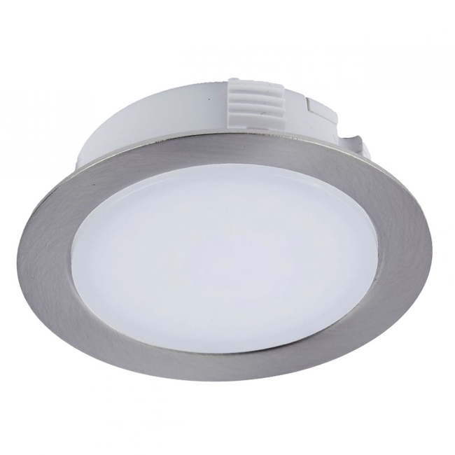 LED Round Recessed Cabinet Light Brushed Chrome