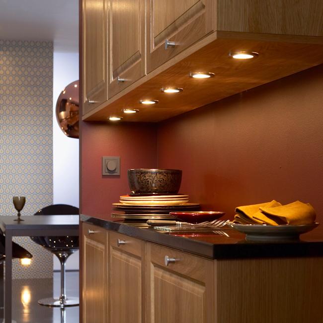 LED Round Recessed Cabinet Light Brushed Chrome
