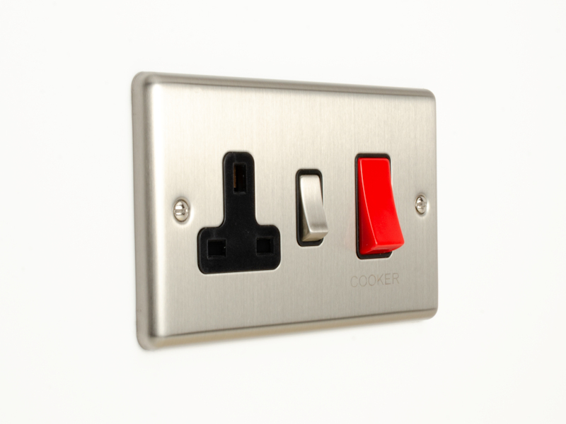 Brushed Chrome 45Amp Cooker Switch with Socket