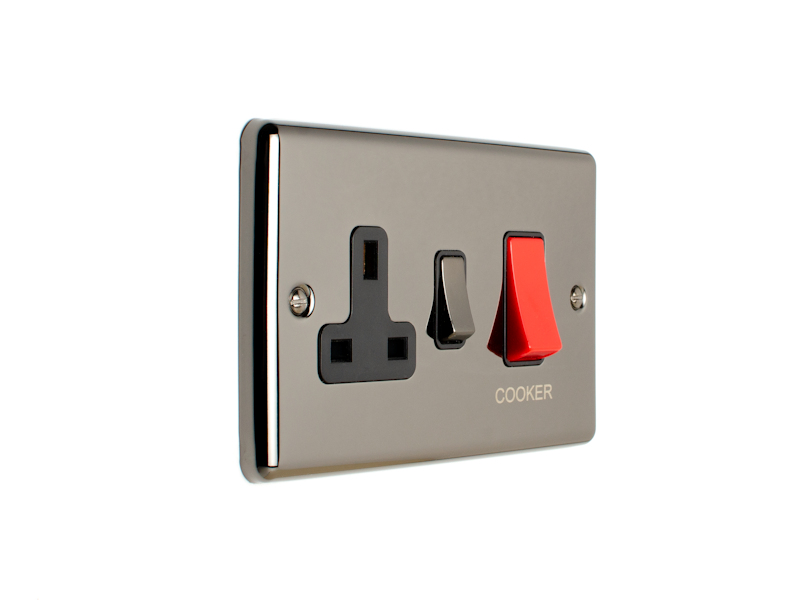 Black Nickel 45Amp Cooker Switch with Socket