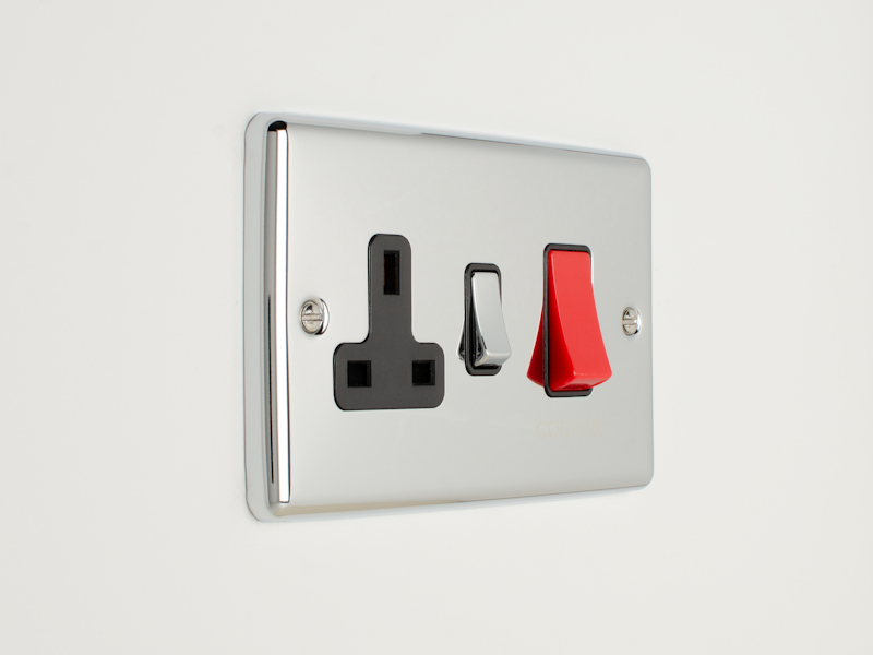 Polished Chrome 45Amp Cooker Switch with Socket
