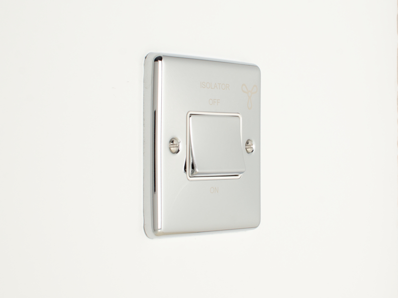 Polished Chrome Triple Pole Fan Isolator Switch