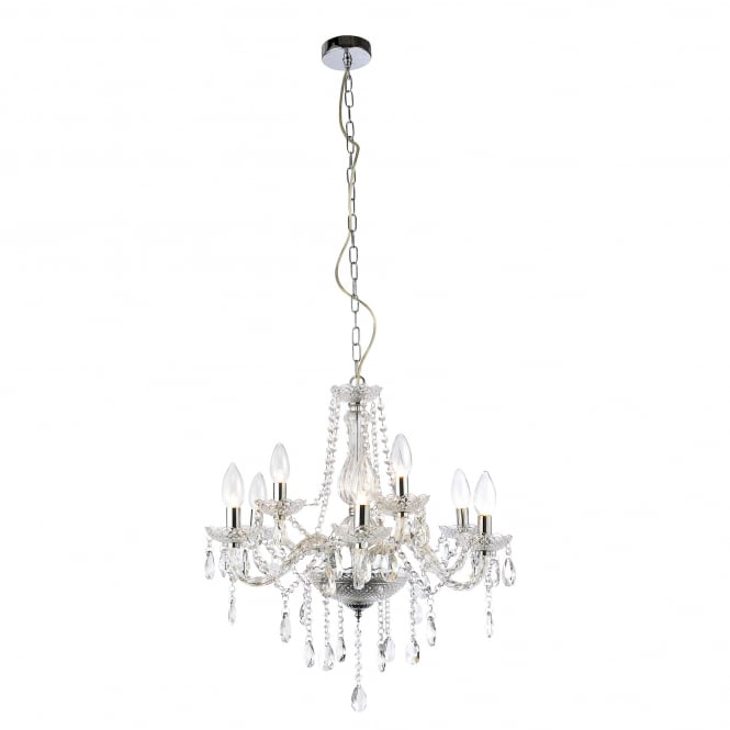 Grace 9 Light Bathroom Chandelier In Polished Chrome And Glass Detail