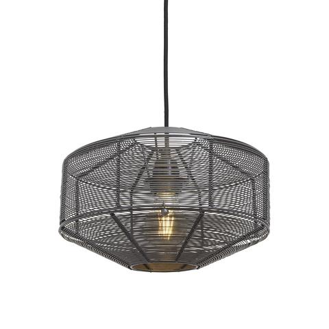 Industville Handcrafted Unique Vintage Cage Wire Metal Pendant Light - Round