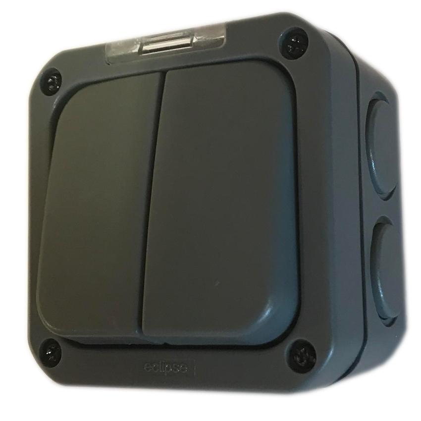 2 Gang Outdoor Weatherproof 2 Way Switch IP65
