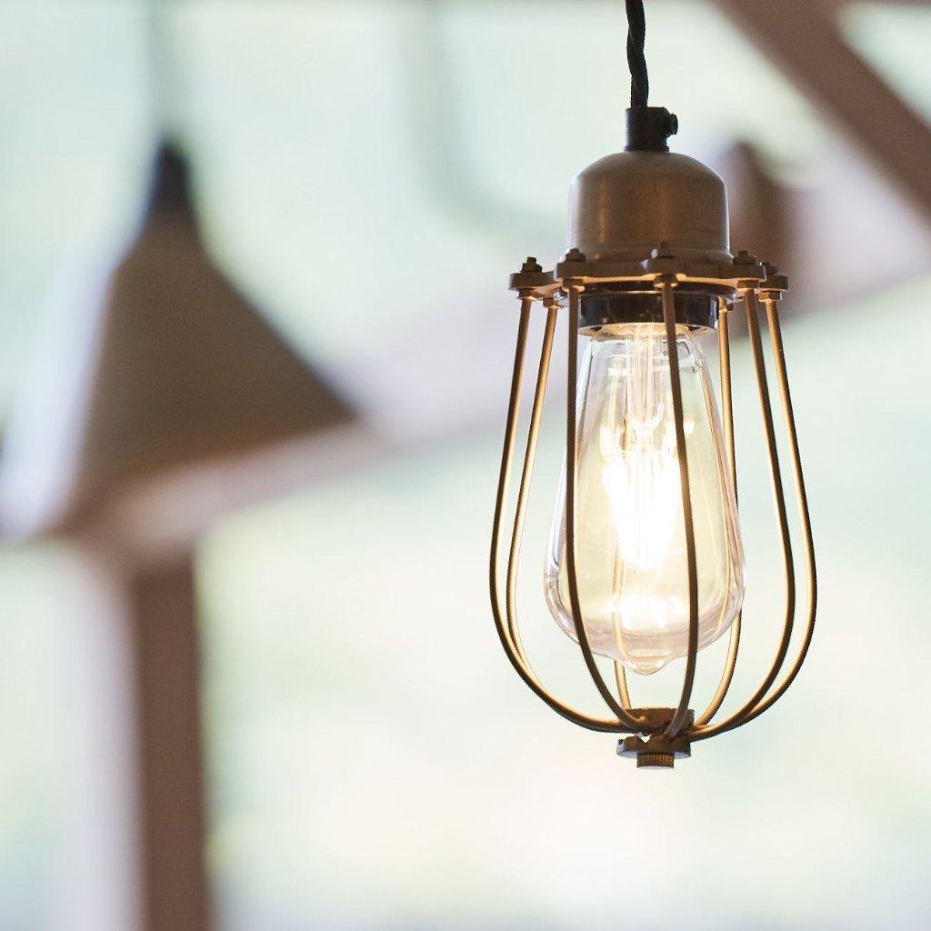 Industville Orlando Vintage Cage Pendant Light - Brass