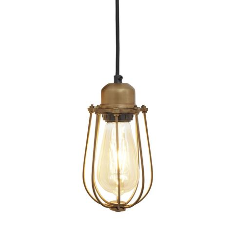 Industville Orlando Vintage Cage Pendant Light - Brass