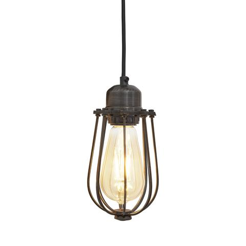Industville Orlando Vintage Cage Pendant Light - Dark Pewter