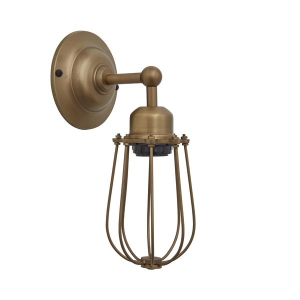 Industville Orlando Vintage Wire Cage Retro Sconce Wall Light - Brass