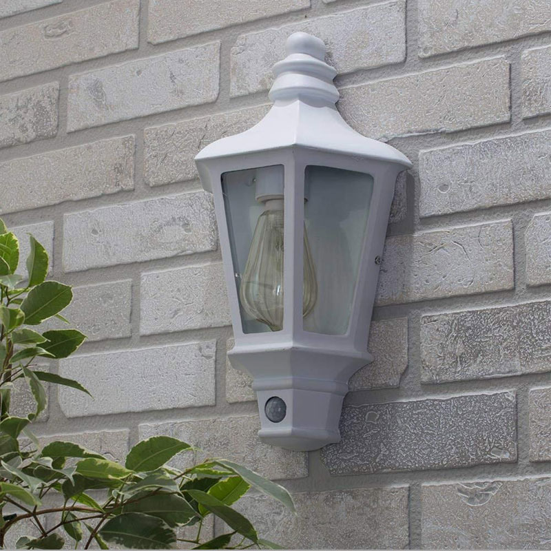 Forum Pallas Outdoor Single Half-Lantern White PIR