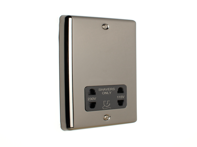 Black Nickel Shaver Socket Outlet