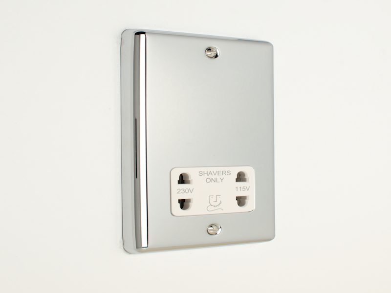 Polished Chrome Shaver Socket Outlet