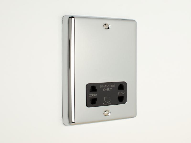 Polished Chrome Shaver Socket Outlet