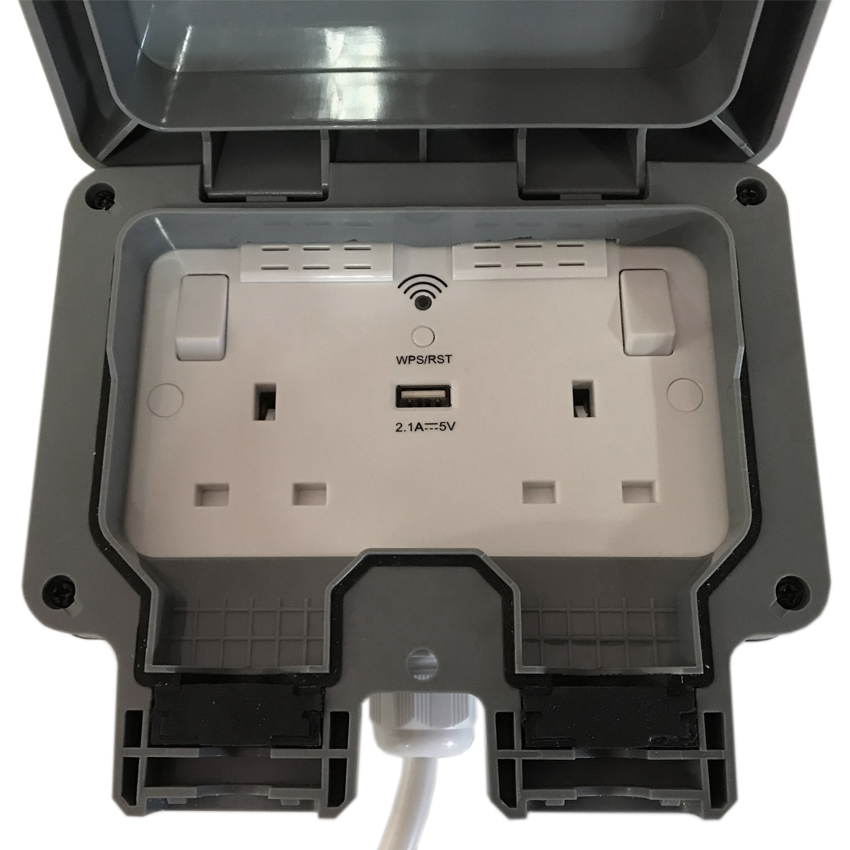 Outdoor garden extension lead WIFI booster & USB charger socket box IP65 Rated