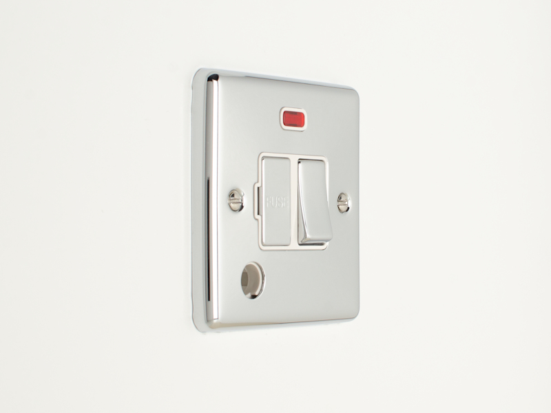 Polished Chrome Switched Fused Connection Unit with Flexoutlet & Neon