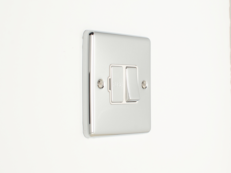 Polished Chrome Switched Fused Spur Connection Unit With Neon