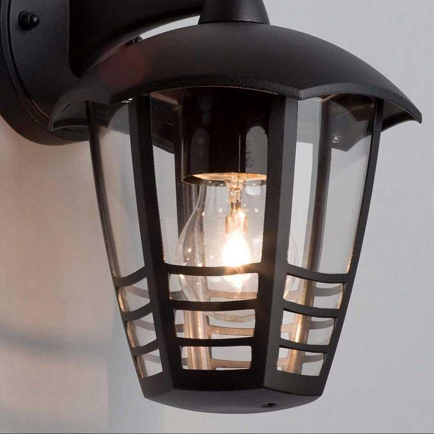 Perdita Single Outdoor Wall Lantern in Black