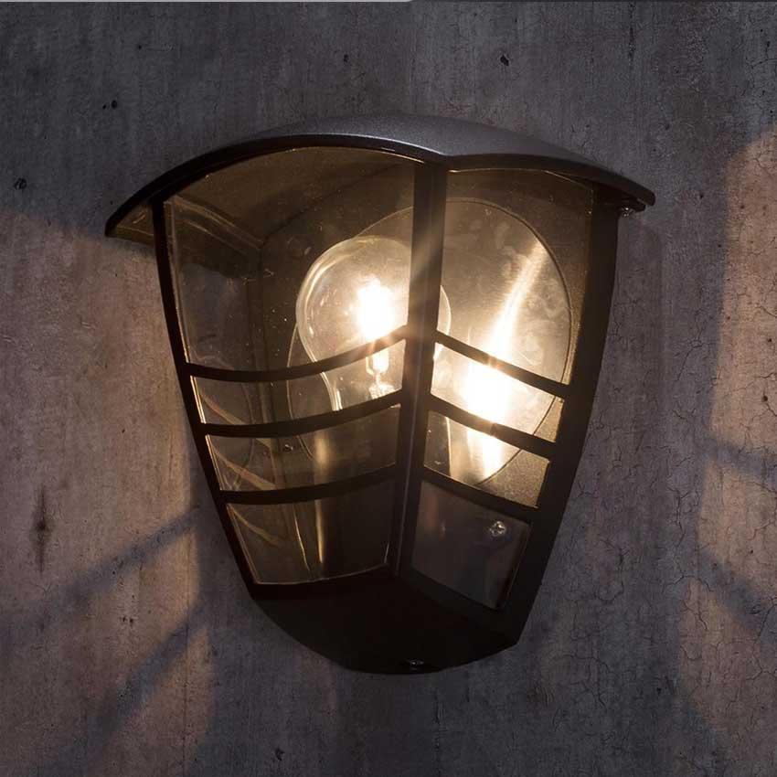 Perdita Single Outdoor Half Wall Lantern in Black