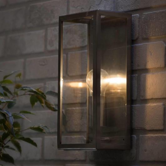 Forum Outdoor Minerva Box Wall Lantern in Stainless steel