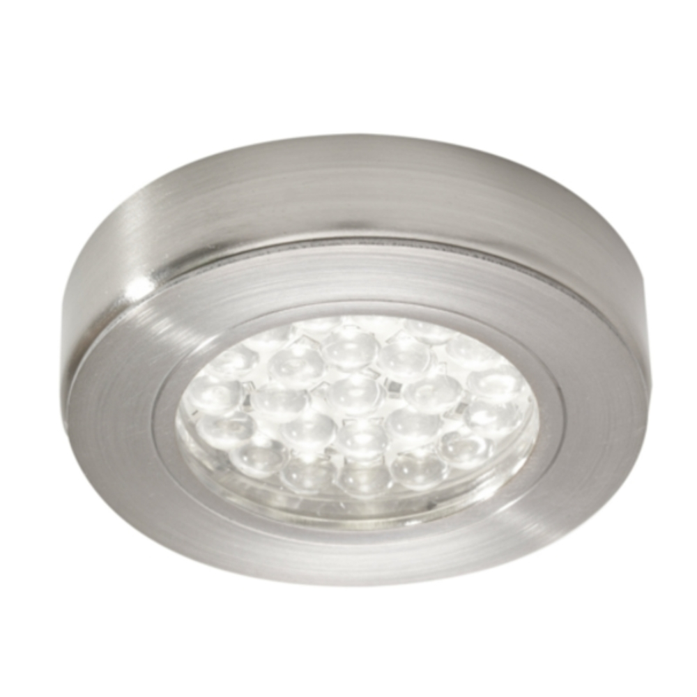 LED Round Surface Cabinet Light Brushed Chrome