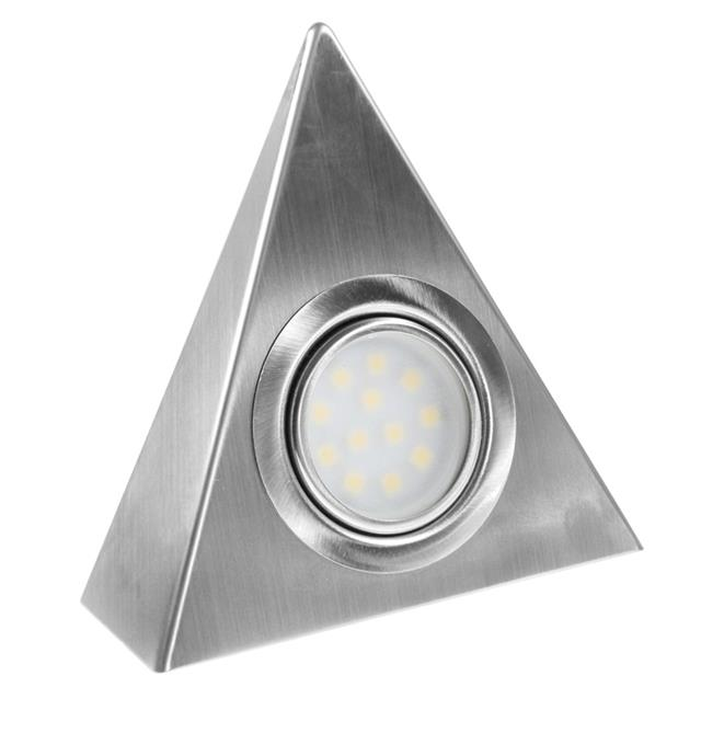 LED Triangle Surface Cabinet Light Brushed Chrome