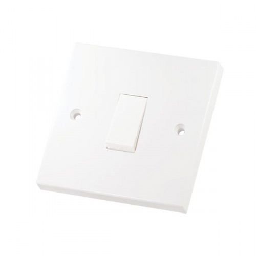 White 1 Gang 2 Way 10 Amp Switch Square Edge