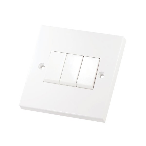3 Gang 2 Way 10 Amp Switch Square Edge
