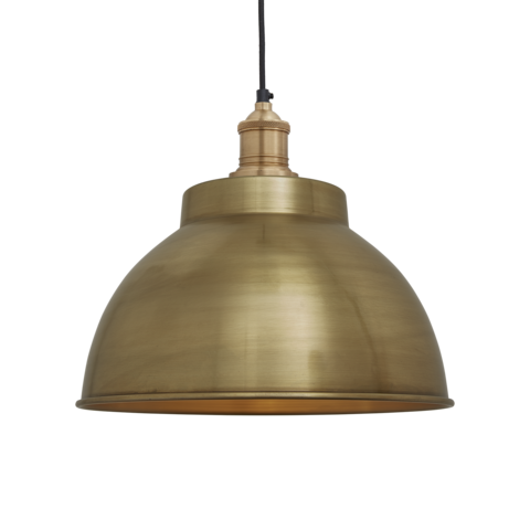Industville Brooklyn Vintage Metal Dome Pendant Light Brass 13 inch
