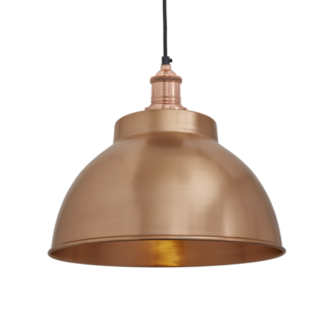 Industville Brooklyn Vintage Metal Dome Pendant Light Copper 13 inch