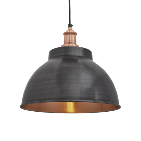 Industville Brooklyn Vintage Metal Dome Pendant Light - Dark Pewter & Copper - 13 inch