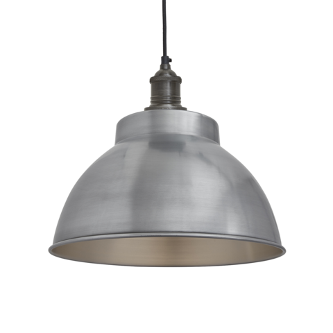 Industville Brooklyn Vintage Metal Dome Pendant Light - Light Pewter 13 inch
