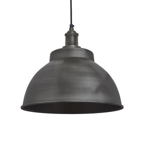 Industville Brooklyn Vintage Metal Dome Pendant Light Dark Pewter 13 inch